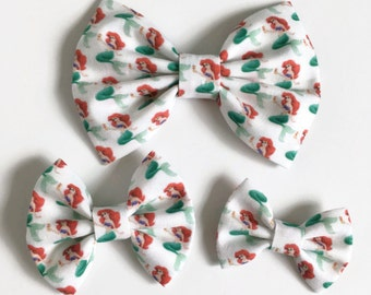 Ariel Hair Bow - Ariel Fabric Bow - Fabric Hair Bow - Princess Hair Bow - Mermaid Fabric Bow - Summer Hair Bow - Character Hair Bow