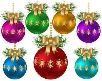 Christmas Balls Clip Art, Digital Christmas Ball, Digital Clipart, Clipart Balls, Holiday Clipart, Christmas Ornament