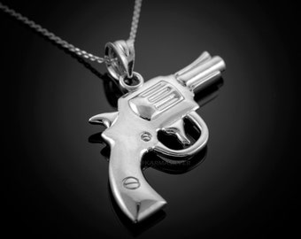 Sterling Silver Revolver Pistol Pendant Necklace