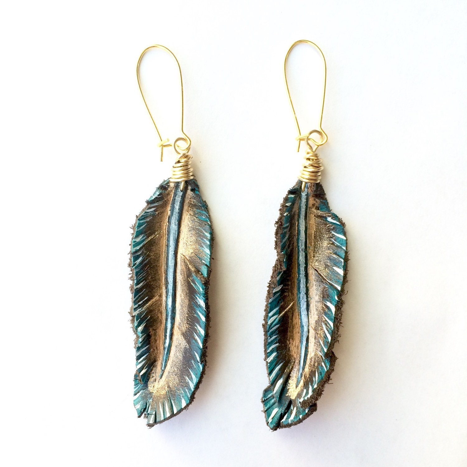 Feather Jewelry: Leather Feather Earrings Gold Copper Turquoise Painted