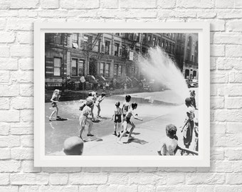 New York City - Children Playing - Fire Hydrant - Summer - New York City Photograph - Vintage New York - Black and White - Street Photograph