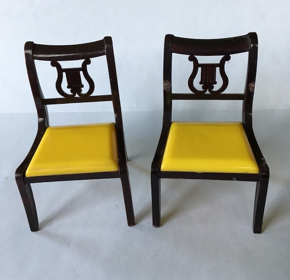 Yellow Dining Room Chairs: Vintage Ideal Dollhouse Furniture-Dining Room Chairs Yellow