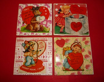 Fun and Clever Valentine Coasters Made From Authentic Vintage  Mid Century Valentines