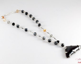 Handmade Fine and Sterling Silver Necklace with Onyx, Black labradorites & Swarovskis