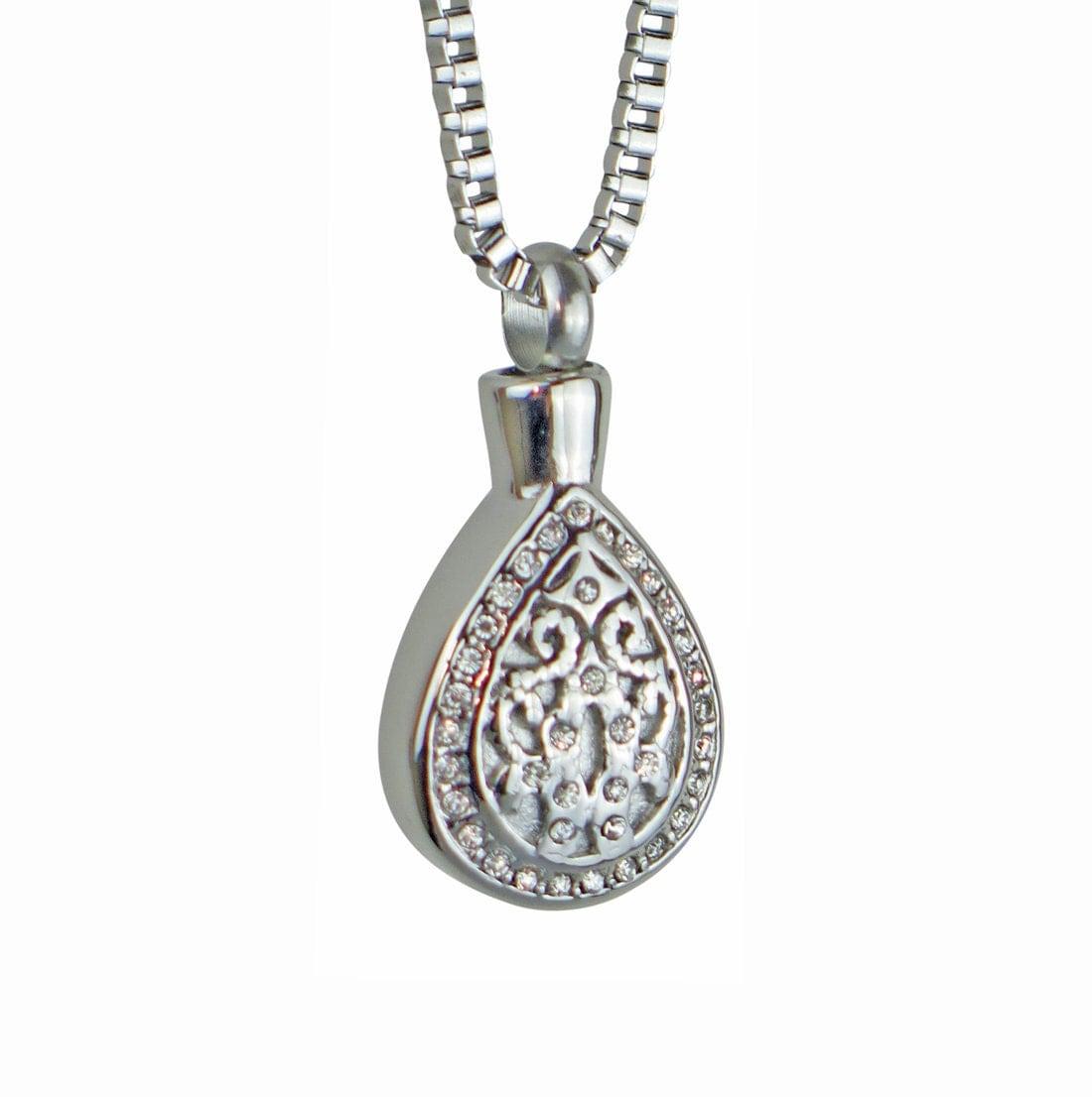 teardrop urn pendant necklace cremation jewellery