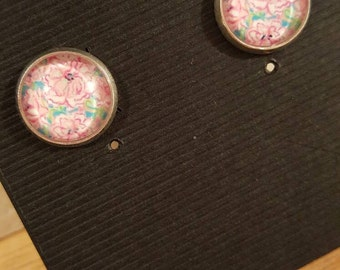 Handmade 12mm paisley stud earrings