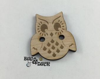 Owl Button/Laser Engraved/Wood Button/Handmade Button/Unique Button