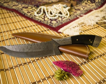 Damascus Steel Hunting Knife with Fully Forged Damascus Steel Handle - HK-173