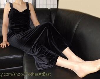 schwarzes langes Samtkleid weicher samt - long black velvet dress plush