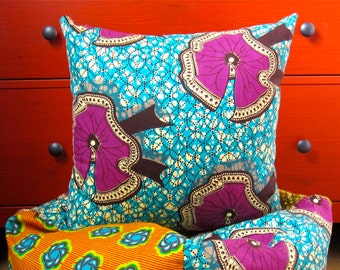 "Ankara wax pillow cover, 18""x18"", african wax print accent pillow, colorful throw pillow, kitenge pillow, african wax pillow,coussin wax"