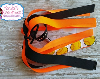 Neon Orange and Black Softball Ponytail Streamers,Black and Neon Orange Softball Streamers,Softball Streamers,Softball Hair Bow,Softball Bow
