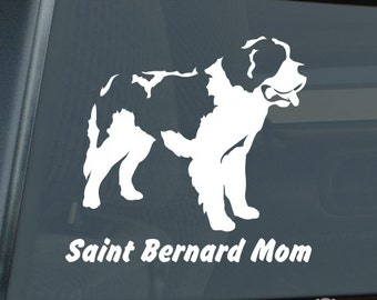 Saint Bernard Mom Die Cut Vinyl Sticker v2 st. st - 1308