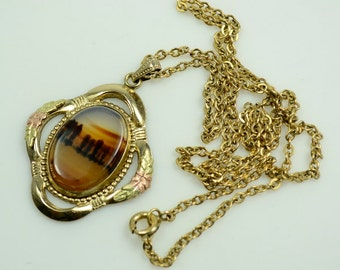 1920s-1930s Gold Filled Picture Agate Pendant Necklace with Black Hills Gold Accents