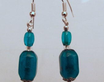 Blue Glass Block Earrings