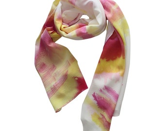 Hand Painted Silk Scarf, Pink / Women's Scarf / Spring Scarf / Silk Scarf / Pink Silk Scarf / Hand Painted Silk Scarf