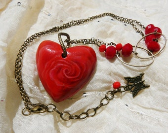 pendant, red rose, wood, handmade, heart-shaped, necklace, rose red, wooden pendant heart shaped do