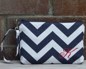 Personalized Navy Chevron Wristlet Wallet; Zipper Pouch; iPhone 6 Plus/Samsung Galaxy Cell Phone Wristlet; Cell Phone Purse; Clutch