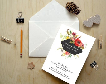 Floral Watercolor Save The Date Deposit