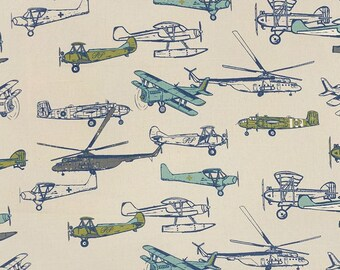 1/2 Yard Vintage Airplane Fabric - Premier Prints Vintage Air Felix/Natural Fabric, airplane, antique airplane, old planes, planes HALF YARD