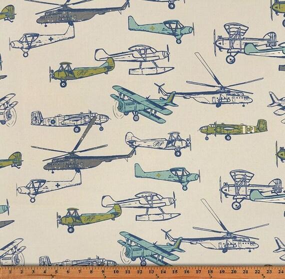 1 2 yard vintage airplane fabric premier prints vintage air for Airplane print cotton fabric