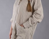 Linen tunic with long sleeves , Variety of colors, Oversized Linen Blouse/ Strippy shirt  Shabby Chic / Washed LinenTunic /  linen Shirt