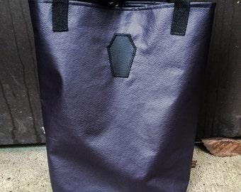 Tote bag - Tote - Faux leather tote bag - Vegan tote bag - Purple tote bag - Gothic tote bag - Gothic bag - Handbag - Etc.....