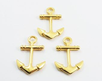 5 pieces - Anchor Charms Pendants Nautical Findings Gold Tone - SRR.1