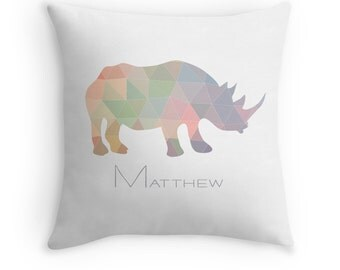 Personalized Geometric Rhino Pillow Cover Hipster Pillow Case Cushion 14x14 16x16 18x18 20x20 26x26 Square 20x14 Rectangle