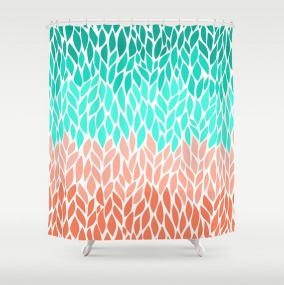 Teal Coral Mint Green Shower Curtain Leaf Design Pattern Home