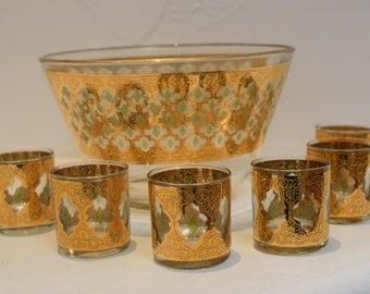 Culver 22kt gold Valencia punch bowl with six glasses 1960s midcentury