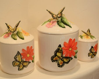 Vintage ceramic Canister Set Hand Painted Butterflies and Flowers