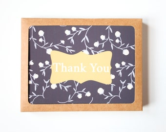Floral Thank You Cards, Set of 10, Handmade Cards, Hand drawn botanical card, Blank card, Wedding Thank you cards, Floral Pattern Card