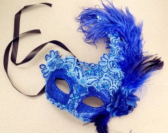 Brocade Royal Blue Lace Masquerade Mask Black Red Lace Feather Encrusted Venetian Style Mask