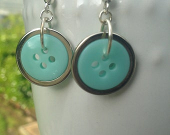 Mint and Silver Earrings