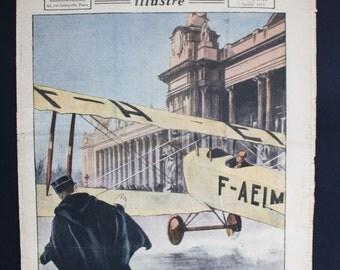 French Newspaper. Le Petit Journal Illustré. Color Illustration. Antique Ephemera. Mixed Media Art. French Vintage Journal. January 7, 1923