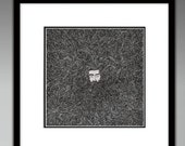 Lad's Hair & Beard Illustration Print - Hipster, Man, Boy, Bearded, Detailed, Black and White, Style, Hairy