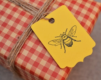 Bee Gift Tags - Stamped Gift Tags - Bee Tags - Bee Stationary