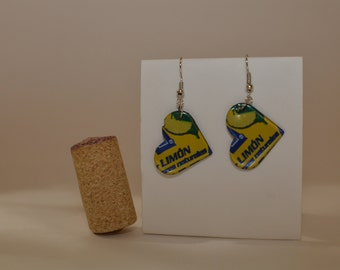 Limon Small Heart Earrings made from Brisk Iced Tea Lemon can