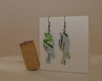 Bird earrings made from Diet 7Up can