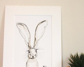 You'll Grow Into Them, big ears Hare print. Quality giclee art print of cute baby hare, perfect gift to make you smile for kitchen, nursery,