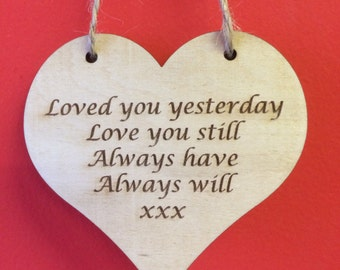 Loved you yesterday, Birch Heart Wall Hanging