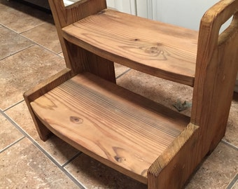 Kids wooden 2-step stool, All NATURAL apple cider vinegar and coffee stain. No chemicals!