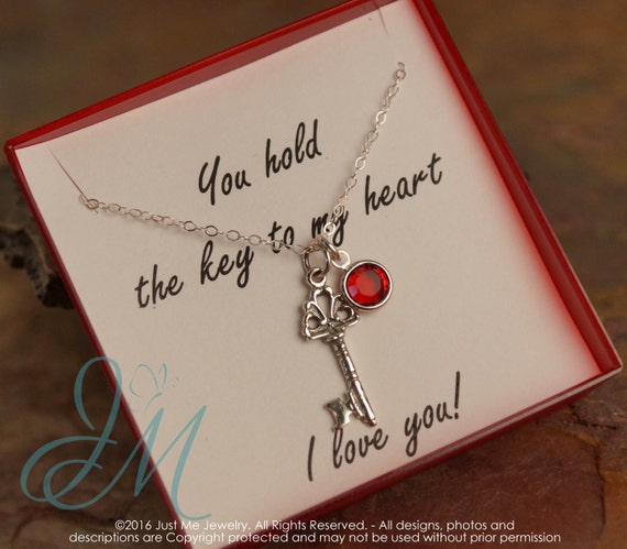Anniversary Necklace - You hold the key to my heart necklace - Sterling Silver necklace with birthstone