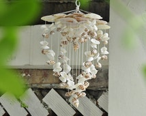 Heart 4D Seashell Wind Chimes tone White, Natuaral Wind Chime handmade outdoor beach, garden and patio wind chime