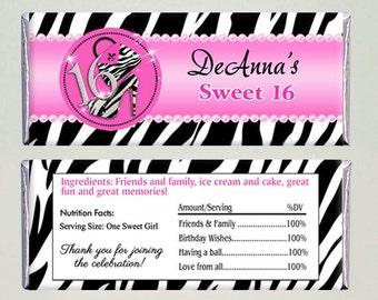 Sweet Sixteen Zebra Print Birthday Candy Bar Wrapper - Printable