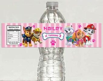 Girls Paw Patrol water bottle label - Printable