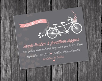 Save the date, Bicycle Save the Date, pink save the date, grey save the date, wedding