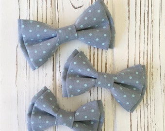 light blue polka dot bow tie - Daddy and son -brothers -ring bearer's bow tie - Groomsmen bowtie - light blue and mint polka dot bow tie