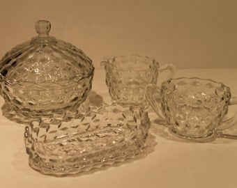 Jeannette and Fostoria - Cubist Covered Candy Dish - Cream and Sugar Bowl - Oval Dish 1930's and 1970's