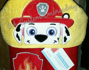 Paw Patrol inspired Hooded Towel, Fire Pup Kids Bath Towel, Custom Pool and Bath Towel, Paw Patrol Marshall inspired Hooded Towel